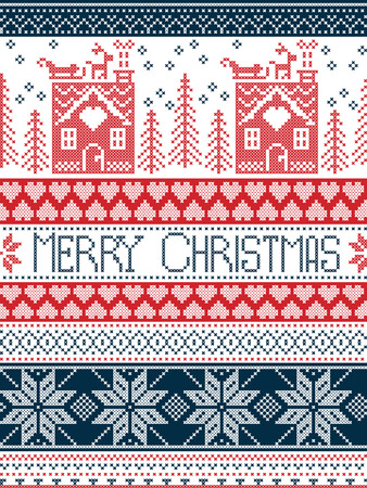 santa sleigh: Merry Christmas Scandinavian Textile style, inspired by Norwegian Christmas, festive winter seamless pattern in cross stitch with gingerbread house, Christmas tree, heart, reindeer in blue, red Illustration