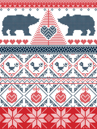red cross red bird: Scandinavian style  Christmas  seamless pattern in cross stitch with polar bear, Christmas tree, heart, robin bird , bauble, decorative ornaments in red and blue