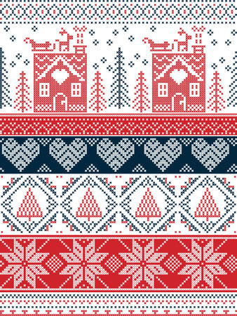 gingerbread house: Scandinavian,  inspired by Norwegian Christmas and festive winter seamless pattern in cross stitch with gingerbread house, Christmas tree, heart, reindeer, sleigh, presents in red , blue Illustration