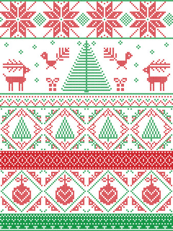 Scandinavian inspired by  Norwegian Christmas and festive winter seamless pattern in cross stitch with Xmas trees, snowflakes, Reindeer, Robin Bird, heart, Christmas bauble in red, green Illustration