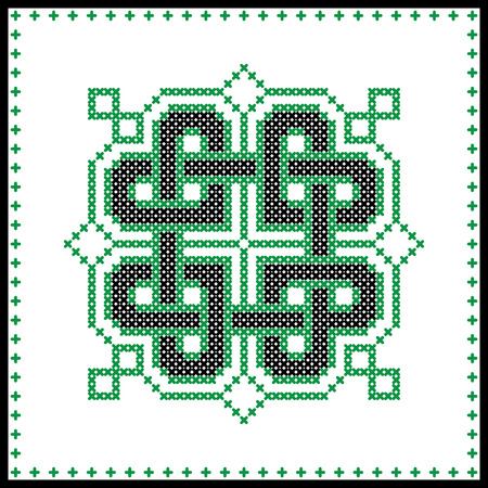 irish culture: Celtic  knot in black and green cross stitch pattern on white and black background inspired by Irish St Patricks day and ancient Scottish culture