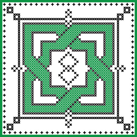 irish culture: Celtic  endless knot in square shape in black and green cross stitch pattern on white and black background inspired by Irish St Patricks day and ancient Scottish culture Illustration