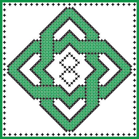 Celtic  endless knot in square shape in black and green cross stitch pattern on white and black background inspired by Irish St Patricks day and ancient Scottish culture Illustration