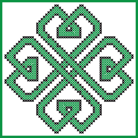 irish culture: Celtic  endless knot in clover with hearts elements  shape in black and green cross stitch pattern on white and black background inspired by Irish St Patricks day and ancient Scottish culture