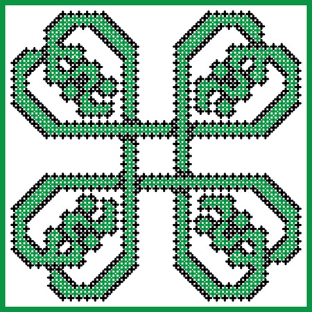 scottish culture: Celtic style endless knot pattern in square style clover shape with hearts elements in tile, in  black and green cross stitch  inspired by Irish St Patricks day and ancient Scottish culture