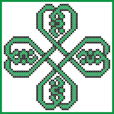 irish culture: Celtic style endless knot pattern in clover shape with hearts elements in tile, in  black and green cross stitch  inspired by Irish St Patricks day and ancient Scottish culture