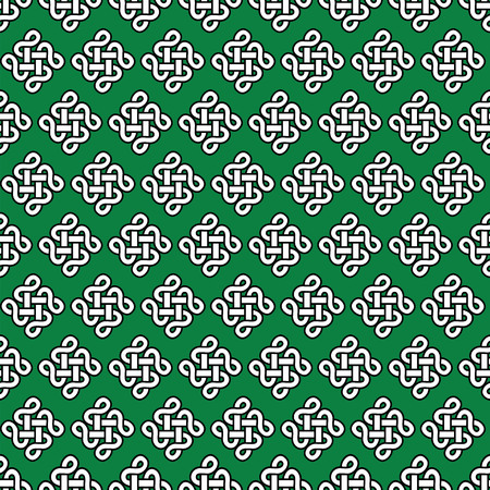 patrics: Celtic style endless knot symbol seamless pattern In white with black stroke on green background inspired by Irish St Patricks Day,  Irish and Scottish Culture