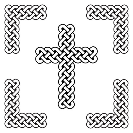 Celtic style endless curved  knot  cross symbols in white and black in knotted frame.