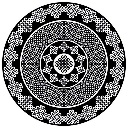 Mandala style Celtic style endless knot symbols in white and black inspired by Irish St Patricks Day, and Irish and Scottish carving art