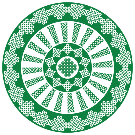 scottish culture: Mandala style Celtic style endless knot symbols in white and green  inspired by Irish St Patricks Day, and Irish and Scottish carving art Illustration