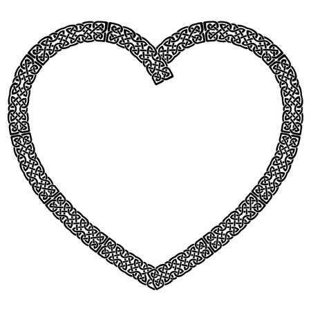Black Celtic style knotted heart with eternity knot pattern  inspired by Irish St Patricks Day, and Irish and Scottish carving art