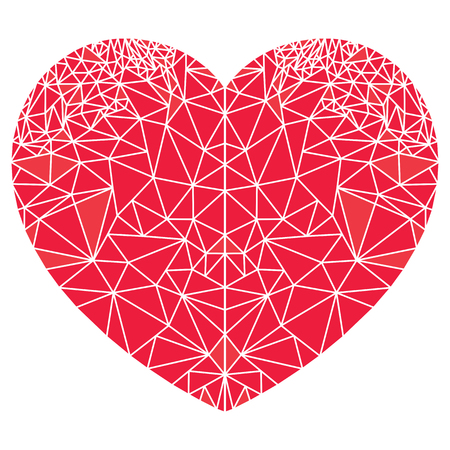 Geometric  polyart  heart shape inspired by Scandinavian decoration style in red on white background. Illustration