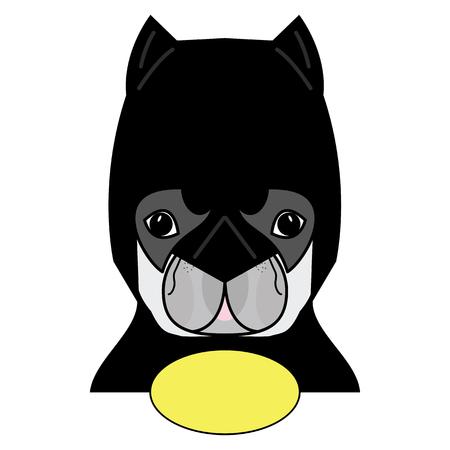 Superhero symbool als een Frans Bulldog karakter in zwart, grijs en geel. Stock Illustratie
