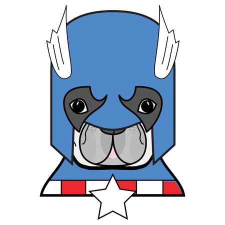 Superhero symbool als een Frans Bulldog karakter in rood, wit en blauw. Stock Illustratie