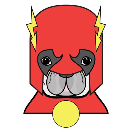 Superhero symbool als een Frans Bulldog karakter in rood, wit en geel. Stock Illustratie