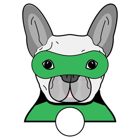 Superheldensymbool als Frans buldogkarakter in zwart, grijs, groen met een masker op witte achtergrond.