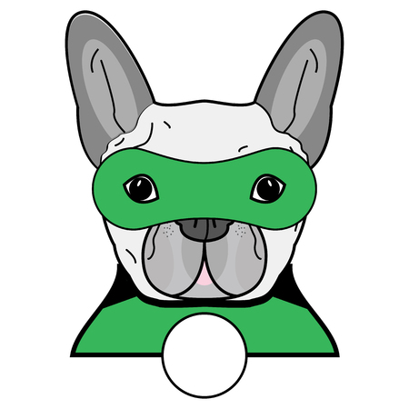 male symbol: Superhero symbol  as  a French bulldog  character in black, gray, green with a mask on white background.