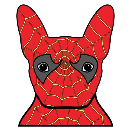 Superhelden symbool als een Frans buldogkarakter in rood en geel bedekt met spinnenweb op witte achtergrond. Stock Illustratie