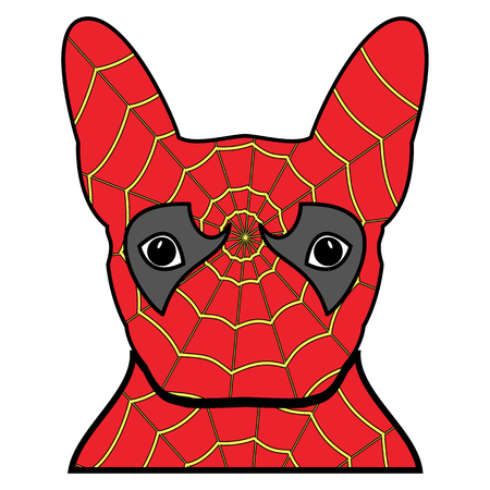 super dog: Superhero symbol  as  a French bulldog  character in red and yellow covered with spider web on white background. Illustration