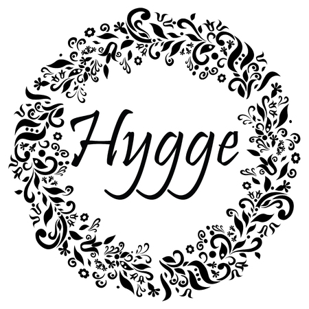 Hygge sign symbolizing Danish Life style surrounded by black and white flower elements in the shape of a circle Illustration