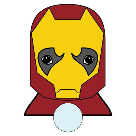 Karakter in rood, geel bedekt met een ijzeren maskerbedekking.