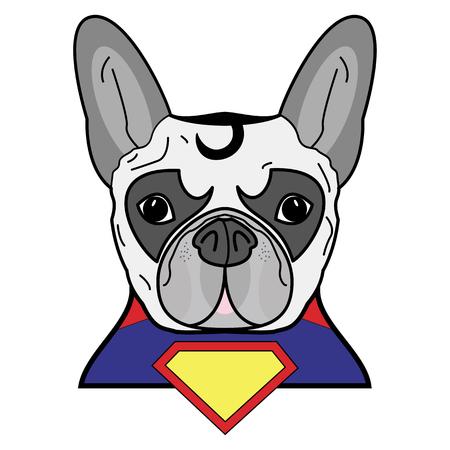 Superhelden symbool als een Frans buldogkarakter in rood, geel, blauw met een kaap en een geel diamantsymbool.