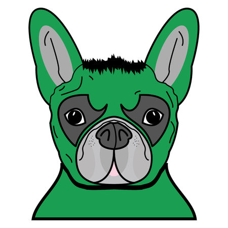 Superhero symbol  as  a French bulldog  character in green with tangled hair. Illustration
