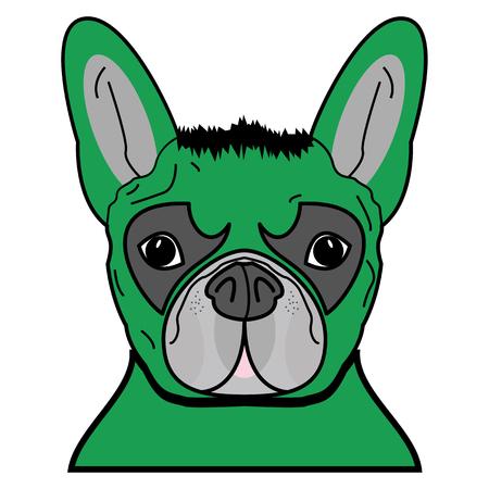 Superhero symbool als een Frans Bulldog karakter in groen met verward haar. Stock Illustratie