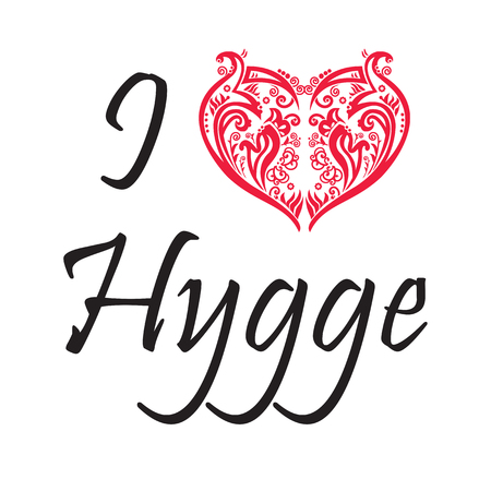 I love Hygge text in black symbolizing Danish Life style with floral swirly heart shape in red on white background.