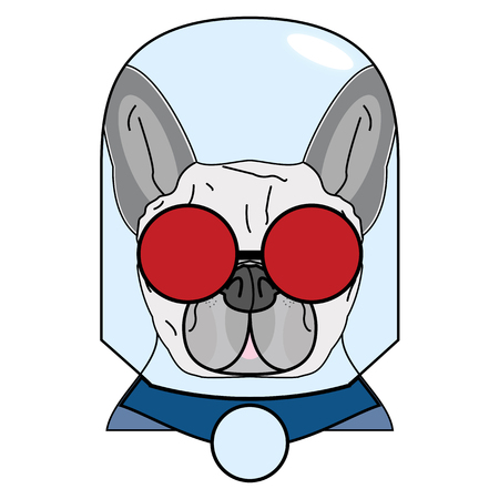 Villain symbol with glass globe, red glasses and cape in red , gray and blue as French bulldog character Illustration