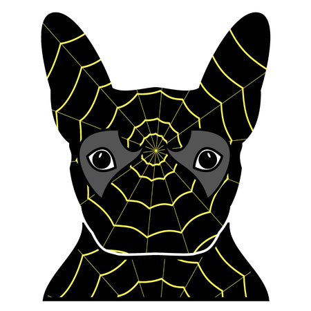Villain symbol in costume with a spider web, with teeth and sticking out tongue, in black, yellow, red,  and gray as French bulldog character Illustration