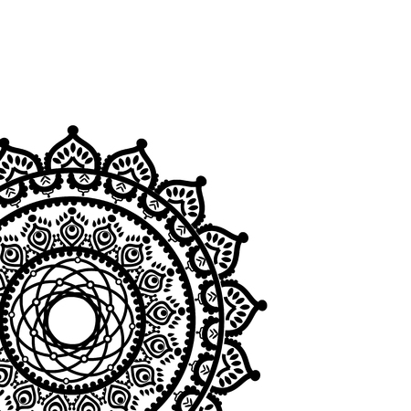 Asian culture inspired partial mandala in the shape of the native culture inspired dream catcher  made out of swirly elements  in  black ans white symbolizing happiness, love and spiritual life.
