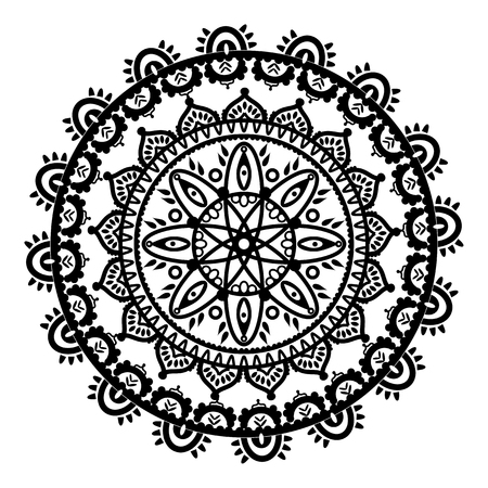 Mandala in the shape of the native culture inspired dreamcatcher made out of swirly elements in black and white symbolizing happiness, love and spiritual life style 2 Illustration