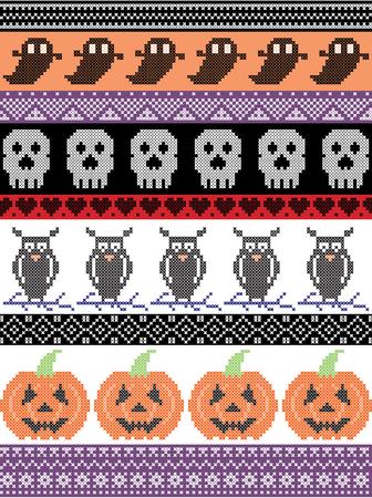 北欧のクロスステッチと伝統的なアメリカの休日に影響を与えた猫、クモ、ゴースト、心、カボチャと紫の装飾的な飾りのシームレスなハロウィー