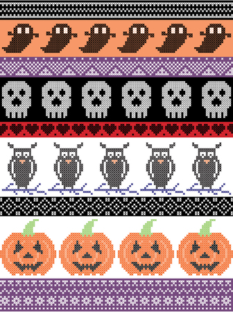Scandinavian cross stitch and traditional American holiday  inspired seamless Halloween pattern with cat, spider, ghost, heart,  pumpkin and decorative ornaments in purple, orange, black, yellow Illustration