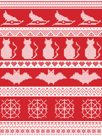Seamless Halloween pattern with witch hat, spider web, heart shape, cat, and decorative ornaments in red, white