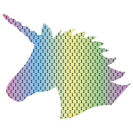 Shape silhouette  of the magical unicorn on the dotted rainbow effect background in 3D effect Illustration