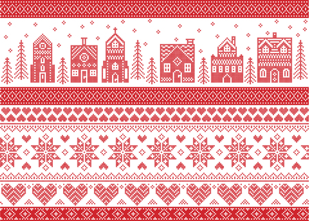 Nordic style and inspired by Scandinavian cross stitch craft merry Christmas pattern in red and white including  winter wonderland village, church, Christmas trees, stars , snowflakes, angel, heart Illustration