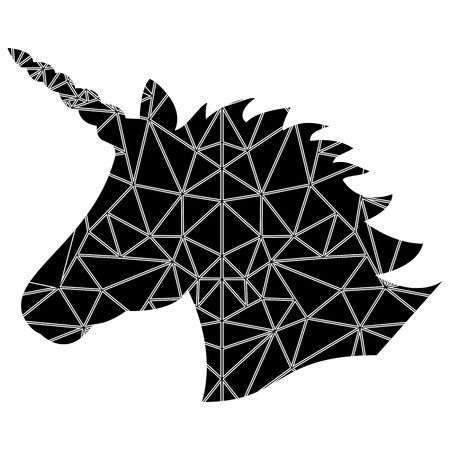 Shape silhouette  of the magical unicorn on white and in Scandinavian style  poly triangle pattern in black and white
