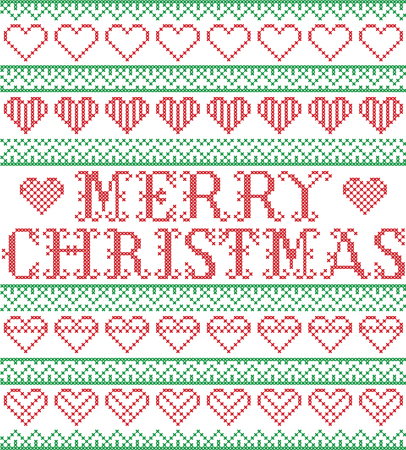 Merry Christmas Nordic style and inspired by Scandinavian cross stitch craft seamless Christmas pattern in red, green and white including vary hearts elements and  decorative ornaments Illustration