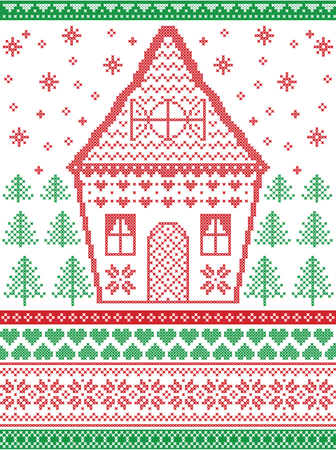 Nordic style and inspired by Scandinavian  Christmas pattern and craft in cross stitch in red, green, white including  gingerbread house, Christmas tree, star, snowflake, heart, decorative ornate line