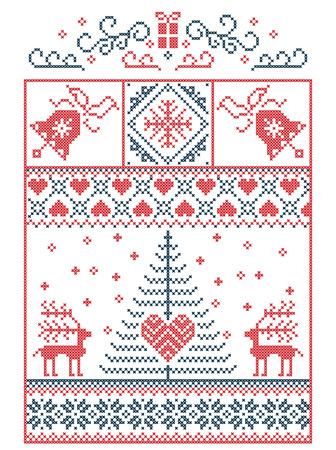 Nordic style winter stitching Christmas pattern