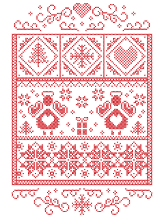 Elegant Christmas Scandinavian, Nordic style winter stitching, pattern including  Angel, snowflakes, heart, gift, star, Christmas tree, snow and decorative ornaments in white, red in rectangle frame