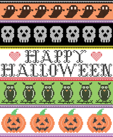 Scandinavian cross stitch and traditional American holiday inspired seamless Happy Halloween pattern with owl, ghost, skull, pumpkin, decor ornaments in purple, orange, black, yellow, green