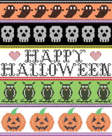 Point de croix scandinave et vacances américaines traditionnelles inspiré sans couture modèle Happy Halloween avec hibou, fantôme, crâne, citrouille, ornements de décor en violet, orange, noir, jaune, vert