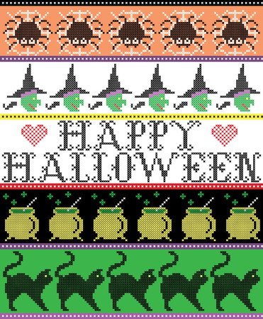 punto de cruz: Scandinavian cross stitch and traditional American holiday inspired seamless Happy Halloween pattern with spider, web, witch, boiler, cat and decor ornaments in purple, orange, black, yellow, green