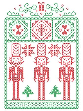 Légant Noël scandinave, coutures d'hiver de style nordique, motif comprenant flocon de neige, coeur, soldat de casse-noisette, arbre de Noël, cadeau de Noël, neige en rouge, vert en cadre décoratif Banque d'images - 88308123
