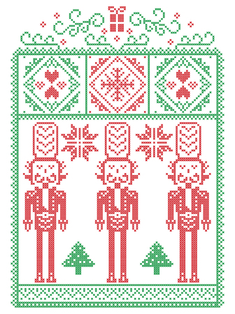 Elegant Christmas Scandinavian, Nordic style winter stitching, pattern including snowflake, heart, nutcracker soldier, Christmas tree, Christmas present, snow in red, green in decorative frame Illustration