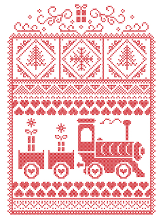 Elegant Christmas Scandinavian, Nordic style winter stitching, pattern including snowflake, heart, gravy train, Christmas tree, Christmas present, snow in red, white in decorative frame Illustration