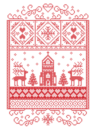 Elegant Merry Christmas Scandinavian, Nordic style winter pattern including snowflake, heart, reindeer, christmas tree, snow, snowflake, chapel in winter wonderland scenery,  in white and red